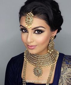 Speechless! Hair & Makeup: @monasangha Jewelry: @parasfashions #indian_wedding_inspiration