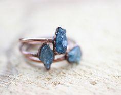 Raw Aquamarine Ring Electroformed Ring Copper Ring