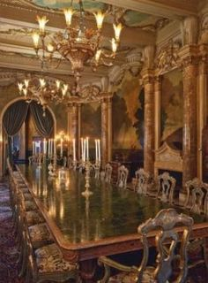 In Marjorie's day, the dining room contained this 2-ton stone dining table, now in the Hillwood Museum, her former estate outside Washington...