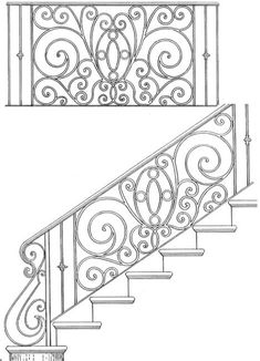 New custom wrought iron stairs railing Ideas Wrought Iron Stair Railing, Stair Handrail, Staircase Railings, Banisters, Interior Stair Railing, Stair Railing Design, Railing Ideas, Flur Design, Design Art