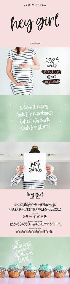 Hey Girl, a fun brush font by Skyla Design on @creativemarket