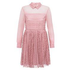 Dusky Pink Lace & Georgette Shirt Dress | Bora Aksu | Wolf & Badger