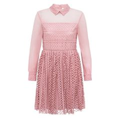 Dusky Pink Lace & Georgette Shirt Dress | Bora Aksu | Wolf & Badger