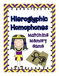 "This is a fun Ancient Egyptian themed matching game for students who are learning or practicing homophones. This product includes a ""how to use this product"" page, play instructions, 30 homophone pair matching cards and an answer sheet. Enjoy!"