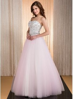 Ball-Gown Sweetheart Floor-Length Satin Tulle Quinceanera Dress With Beading Sequins (017041117) - JJsHouse
