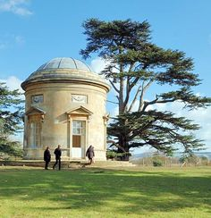 Croome Park, Worcester, England - The Rotunda -  designed by Capability Brown and built between 1754-7. The door and windows are pedimented and inside there's a coffered ceiling and stuccowork by Francesco Vassalli in 1761.