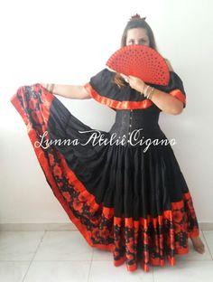 Traje cigano com babado floral saia cigana floral gypsy skirt dança cigana gypsy dance floral skirt www.facebook.com/ateliecigano