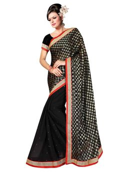Black Chiffon Casual Saree #OnlineShopping for #latest #designersarees #weddingsarees #partywearsarees and #Indiansarees on #variationfashion