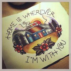 lovely art, and a neat nod to Ed Sharpe Future Tattoos, Love Tattoos, Tattoo Sketches, Tattoo Drawings, Cabin Tattoo, Rockabilly Tattoos, Americana Tattoo, Deep Tattoo, Ink Addiction