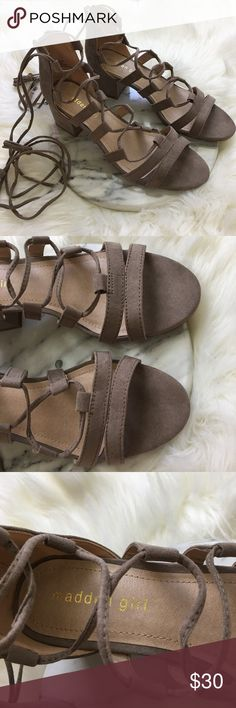 "NWOT Madden Girl Taupe Lace up Heel Sandals NWOT Madden Girl Taupe Lace up Heel Sandals. Size 8.5.  Thank you for looking at my listing. Please feel free to comment with any questions (no trades/modeling).  •Fabric: Faux Leather  •Heel height: 1.5""  •Condition: NWOT  ⭐️25% off all Bundles or 3+ items! Reasonable offers welcome. Visit me on INSTA📸 @reupfashions. Madden Girl Shoes Sandals"