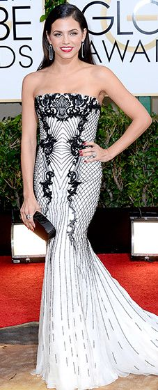 Jenna Dewan: 2014 Golden Globes Channing Tatum's leading lady revealed her sexy figure in a strapless, white and black embroidered Roberto Cavalli gown. The actress paired her dress with Irene Neuwirth jewels and Brian Atwood pumps.