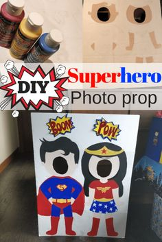 Add this face cut out photo prop to your list of superhero party ideas! The kids will love getting their pictures taken as their fav super heroes! Superhero Party Food, Minion Party, Superhero Photo Booth, Photo Both Props, Superhero Background, Bee Crafts For Kids, Hero Crafts, Diy Crafts, Race Car Party