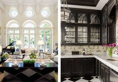 How to Make Traditional Decor Feel Fresh, Laurel & Wolf, Traditional Decor, Traditional Kitchen, Traditional House, Pendant Light Fixtures, Marble Countertops, Dream Decor, Home Look, Coffered Ceilings, New Homes