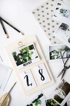 Kreative DIY-Idee: Schreibtisch-Kalender mit Instax-Bildern selbstgemacht