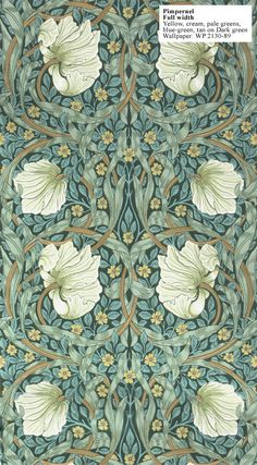Pimpernel , a feature wallpaper from Morris and Co, featured in the Morris Archive Wallpapers collection. Wallpaper Art Deco, Feature Wallpaper, Fabric Wallpaper, Wall Wallpaper, Designer Wallpaper, Green Wallpaper, Vintage Wallpaper Patterns, Kitchen Wallpaper, Wallpaper Designs