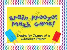 CUTE MATH CENTER FREEBIE! Brain Freeze: Math Board Game from Journey of a Substitute T on TeachersNotebook.com (8 pages)