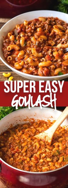 This Easy Goulash Recipe is a quick and affordable one pan dinner that's filled with ground beef and  macaroni in a hearty and cheesy tomato sauce.