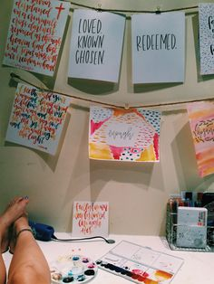A creative way to hand your artwork and personalize your dorm space My New Room, My Room, College Walls, Room Goals, Bible Art, Wall Quotes, Life Quotes, Room Decor Bedroom, Dorm Room
