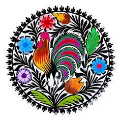 Okrągła wycinanka łowicka z kogutem - rękodzieło ludowe - Folkstar.pl Sparrow Art, Chinese Crafts, Polish Folk Art, Russian Folk Art, Scandinavian Folk Art, Typography Love, Arte Popular, Fused Glass Art, Coq