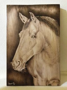Horse pyrography by heart pyr Pyrography, Pet Birds, Moose Art, Horses, Watercolor, Heart, Handmade, Animals, Pen And Wash