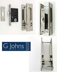 Our Bathroom Hook Lock Set With Turn And Release & Rectangular Flush Pull For Sliding Pocket Doors - Satin Nickel.