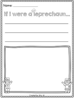 """FREE St. Patrick's Day Literacy and Math Printables - Kindergarten - """"If I were a leprechaun..."""" Writing Prompt"""