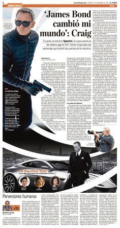 James Bond en SPECTRE on Behance Newspaper Design Layout, Layout Design, Logo Design, Graphic Design, Editorial Layout, Editorial Design, James Bond, Front Page Design, Digital Campaign