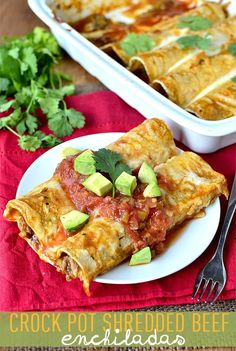 Crock Pot Shredded Beef Enchiladas | iowagirleats.com