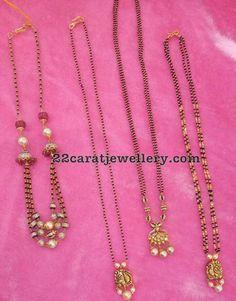Black Beads Set with Simple Lockets - Jewellery Designs