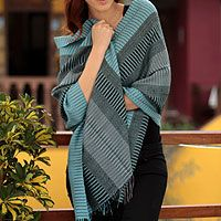 Peruvian soft turquoise, gray and black alpaca wool shawl. I'll get one for probably $8.00 when I go visit home =)