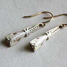 Fine Silver Deco Drop Earrings with 14K Gold Ear by PKStudios, $95.00
