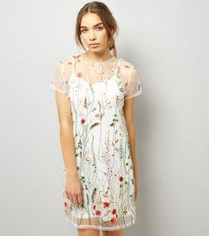 White Floral Embroidered Mesh T-Shirt Dress