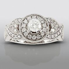 david tutera 1 cttw certified diamond engagement ring 14k white gold - David Tutera Wedding Rings