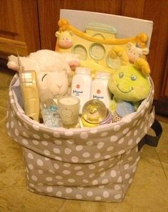 Excellent example of a baby shower gift using a Thirty One Mini Utility Bin www.mythirtyone.com/sarahotto