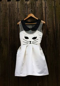 Handmade Kawaii Kitty Cat Dress White by TheDandyLionShop on Etsy, $88.00...... I. Need. To. Have. This.