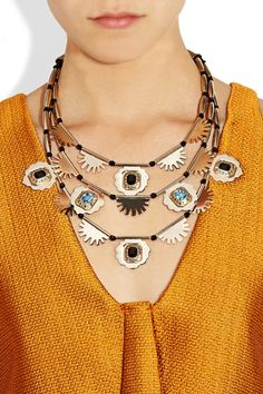 Etro | Gold-tone crystal multistrand necklace | NET-A-PORTER.COM