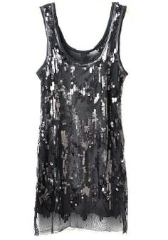 Black Sequin U-neck High Waist Lace Dress