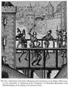 Guerre civile entre Armagnacs et Bourguignons: assassinat du duc de Bourgogne Jean sans Peur par les amis du dauphin Charles. - Par le traité de Troyes (1420), Charles VI accepte que le royaume de France revienne à sa mort au roi d'Angleterre. Les Armagnacs continuent à soutenir son fils Charles VII, et l'action de Jeannde d'Arc renverse la situation. En 1435 le traité d'Arras met fin à ces factions par la réconciliation du roi de France et du duc de Bourgogne