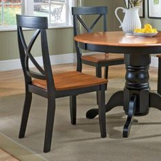 The Home Styles Black & Cottage Oak Dining Chair – Set of 2 is a sophisticated pair that's comfortable and offers a forward-thinking sense. Cheap Dining Room Sets, Cheap Dining Room Chairs, Cheap Chairs, Accent Chairs For Living Room, Chairs For Sale, Kitchen Chairs, Dining Chair Set, Dining Room Furniture, Dining Room Table