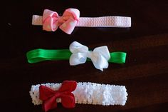 All three headbands, pink, white, and red bows. For babies to toddlers. Visit Leighsbabyboutique.etsy.com