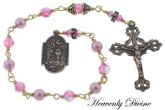 Girl's First Holy Communion Bronze Pink Swarovski Crystal and Pearl Wire Wrapped One Decade Pocket Rosary by Heavenly Divine Rosaries Pearl Beads, Crystal Beads, Swarovski Crystals, Gift Of Faith, Praying The Rosary, Cardboard Gift Boxes, Rosary Bracelet, Confirmation Gifts, Catholic Gifts