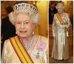 From Her Majesty's Jewel Vault: State Visit from Indonesia, State Banquet-Queen Elizabeth in Gold and wearing the Grand Duchess Vladimir Tiara