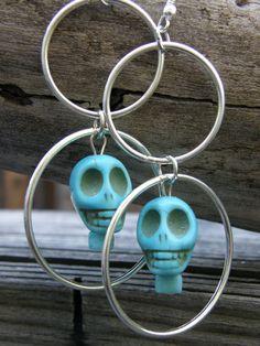 Large Turquoise Skulls and Metal Loop Earrings by SavannahVoodoo, $8.00