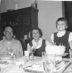 December 1959. Ted, Lois & me at my 6th Birthday Party.