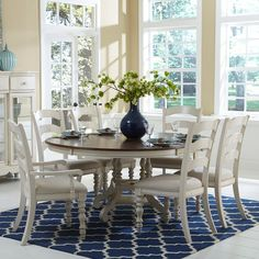 Hillsdale Pine Island 7 Piece Round Dining Set with Ladder Back Chairs - Kitchen & Dining Table Sets at Hayneedle
