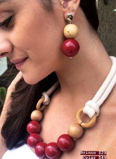 Rope Jewelry, Bead Jewellery, Fabric Jewelry, Wooden Jewelry, Leather Jewelry, Jewelry Crafts, Beaded Jewelry, Jewelery, Beaded Necklace