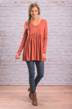 """Lives For Me Top, Rust"" You are going to love for this top! It's the best of everything! It's soft and comfy but it's also flattering and adorable! The color is also a fall and winter favorite!  #Newarrivals #shopthemint"