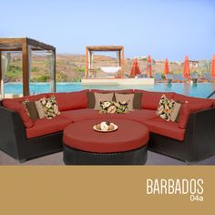 Barbados Collection - Outdoor Wicker Patio Furniture Set 04a / 4 Piece / Terracotta