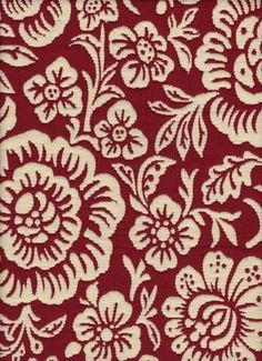 Kirkland Red Upholstery Fabric   Perhaps I'll recover my wing back chairs in this red and cream floral!