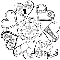 Steampunk Mandala by Ina Sonnenmoser Cute Coloring Pages, Doodle Coloring, Mandala Coloring Pages, Printable Coloring Pages, Coloring Sheets, Coloring Books, Tattoo Painting, Doodle Patterns, Zentangle Patterns